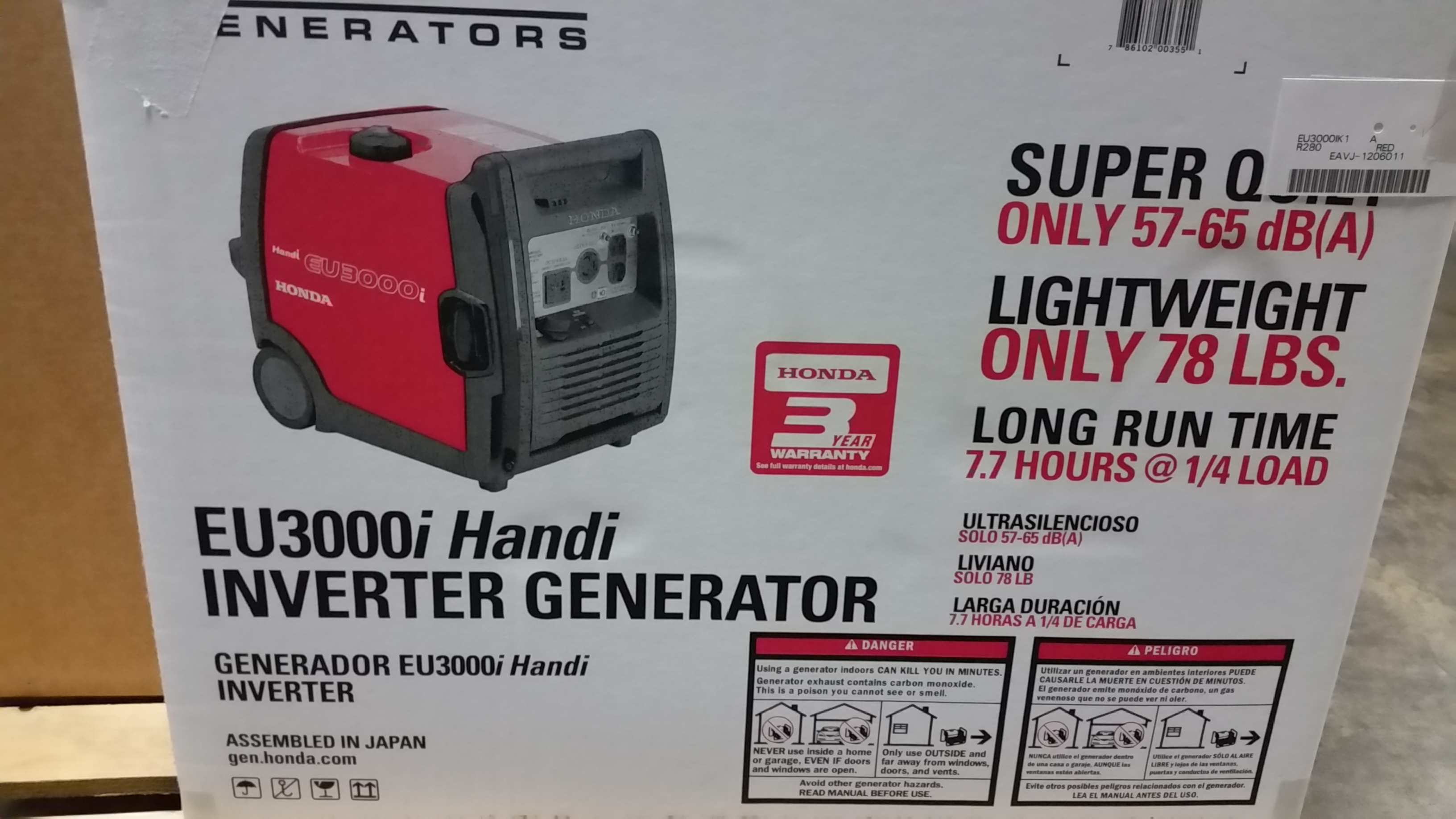 California - FOR SALE (NEW IN BOX) Generator HONDA EU3000I ...