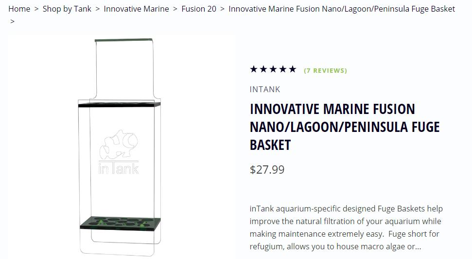 inTank FUGE BASKET FOR INNOVATIVE MARINE FUSION NANO//LAGOON//PENINSULA