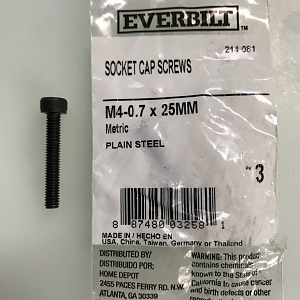 M4 Screws needed for install